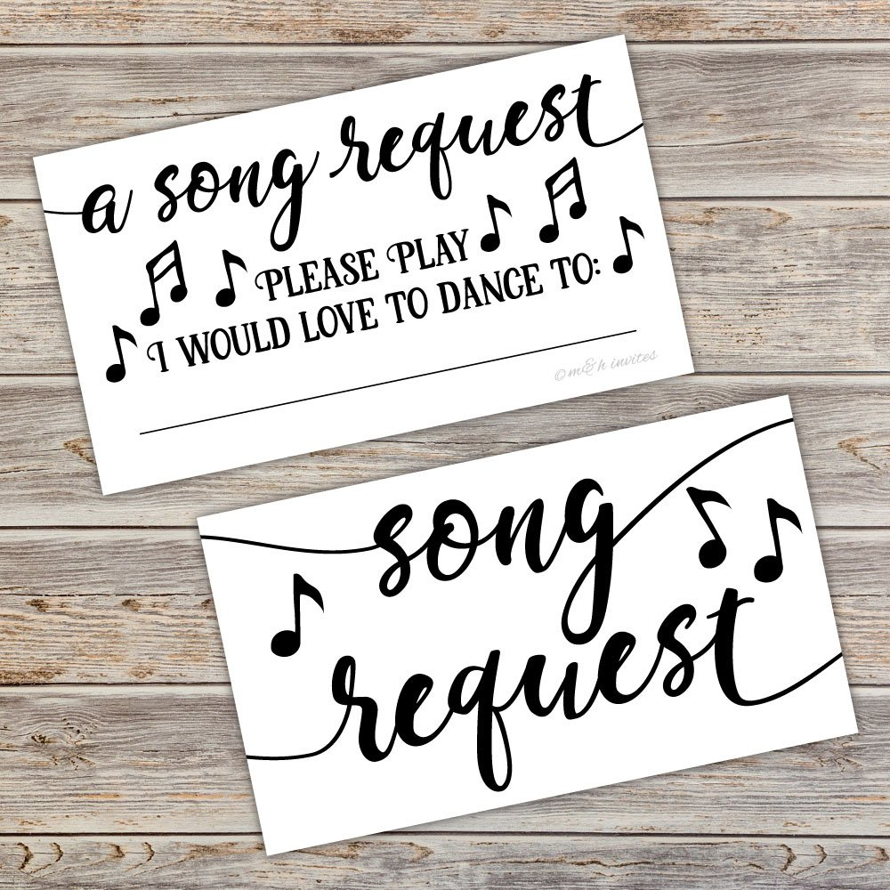 50 Song Request Cards Party Music DJ Suggestion Cards Cards & Card ...