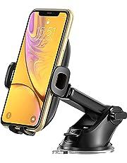 Bovon Support Téléphone Voiture, Rotation 360 ° Extensible Porte Téléphone Voiture Ventouse avec Bras Réglable, Socle de Pare-Brise avec Déverrouillage à Un Bouton pour Smarphones (Noir)