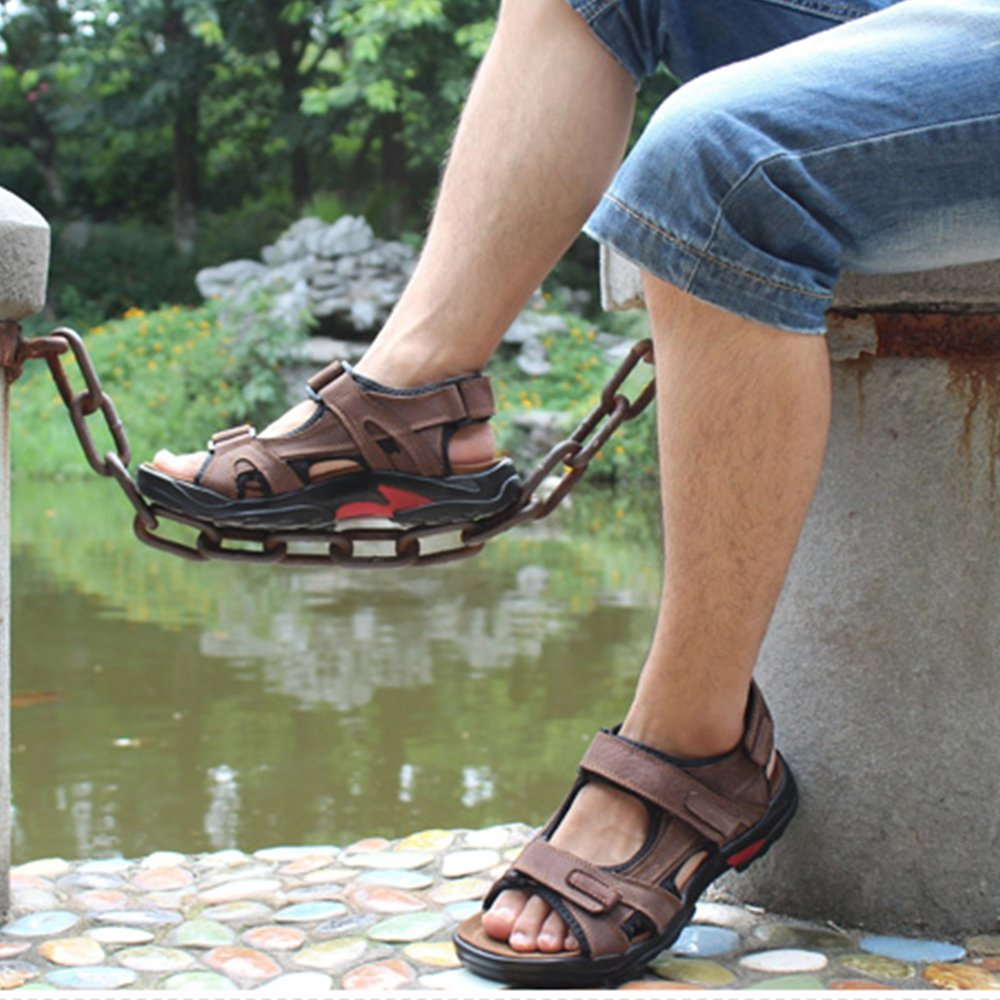 YING LAN Mens Leather Summer Trail Outdoor Fisherman Breathable Sport Beach Sandals Comfort Water Shoes