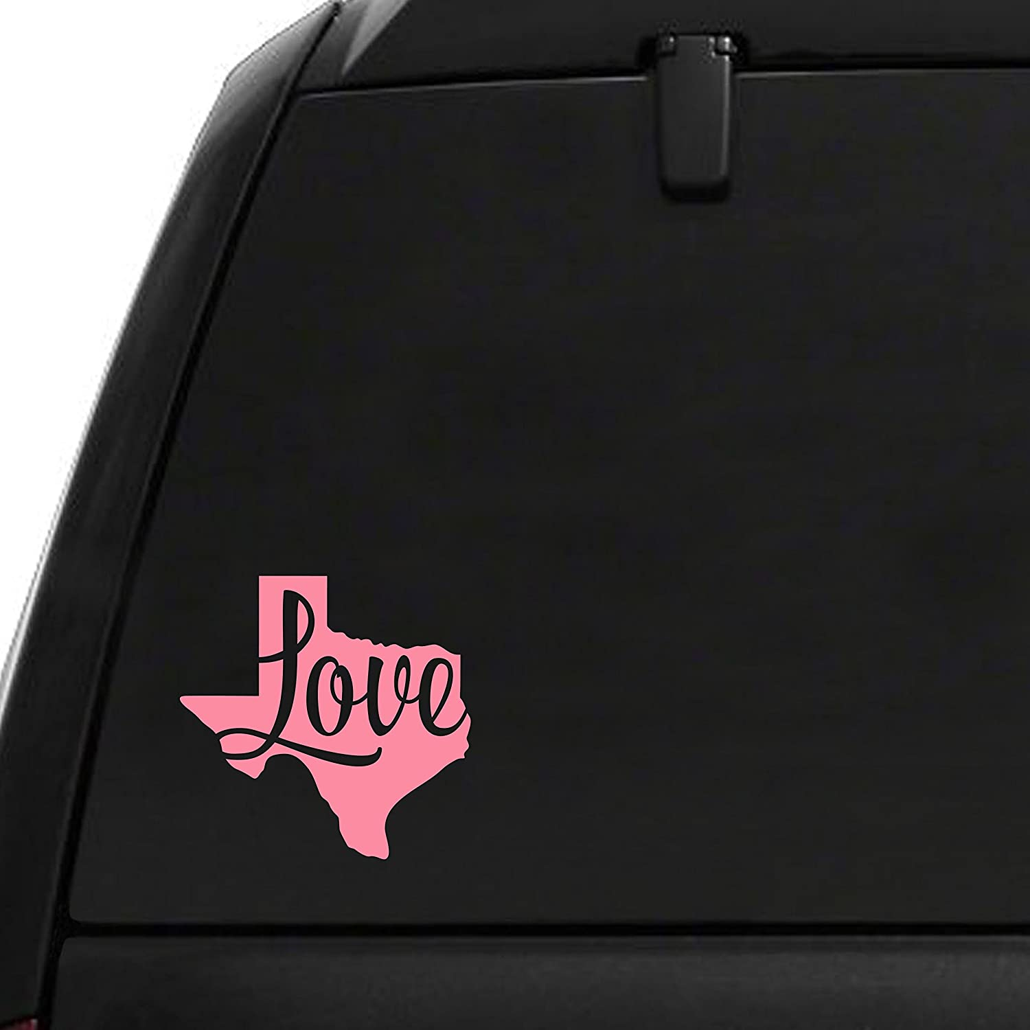 Love Texas Car Decal 4 x 4 Inches Pink Vinyl Texas Car Sticker