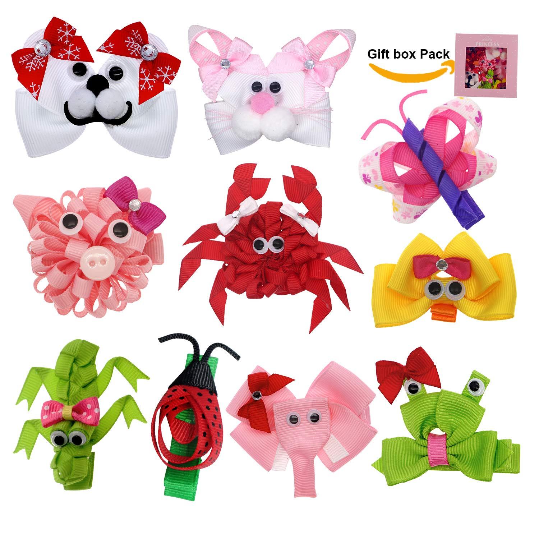 """Girls Handmade set of 2 pink flower Glitter Hair Bow Clips 2.5/"""""""