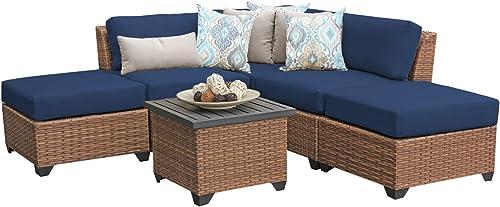 TK Classics LAGUNA-06f-NAVY Laguna 6 Piece Outdoor Wicker Patio Furniture Set