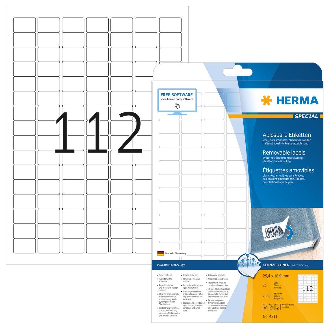 HERMA SuperPrint, Etichette removibili (25,4 x 16,9 mm), colore: Bianco 4211