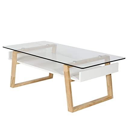 21f720581e3a3 Amazon.com  Polly and Bark Segovia Glass Top Coffee Table in Natural ...