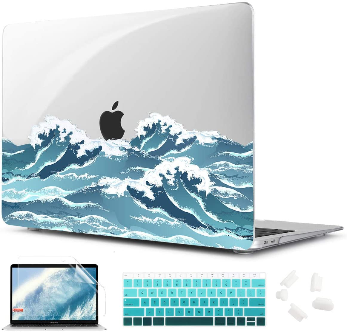 TwoL 4 in 1 Transparent Print Hard Shell Case for 2020 MacBook Air 13 inch Model A2179 A1932 - Ocean