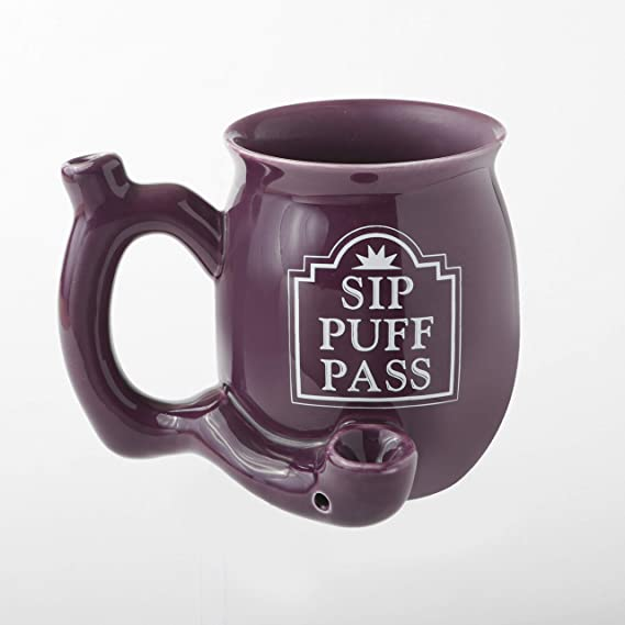 FASHIONCRAFT Sip Puff Pass Mug - Purple with White Letters