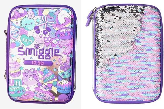 Smiggle - Estuche rígido con lentejuelas reversibles, color plateado y morado: Amazon.es: Oficina y papelería