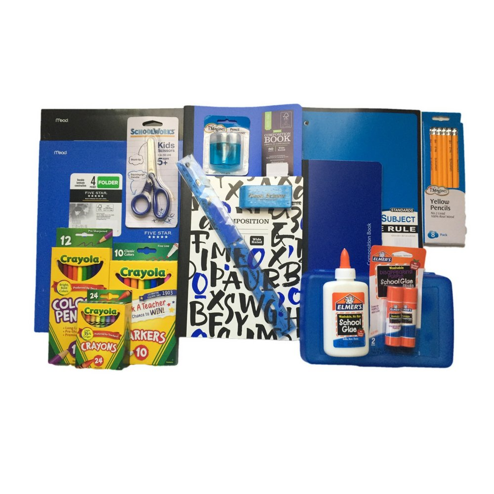 Back to School Supplies Bundle Includes Crayola Markers/Colored Pencils/Crayons, Elmers Glue/Glue Stick, Composition Books Wide Ruled, Pencil Box, Five Star Folders and more. by Golden Years