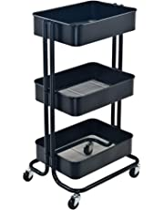 3 Tier Rolling Cart Metal Utility Cart with Wheels Bedroom Kitchen Bathroom Garage Office Arts and Crafts Or Nursery (Black)