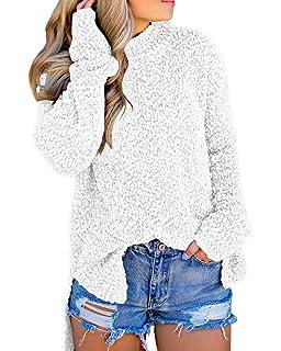 262665fc2d25 Imily Bela Womens Fuzzy Knitted Sweater Sherpa Fleece Side Slit Full Sleeve  Jumper Outwears