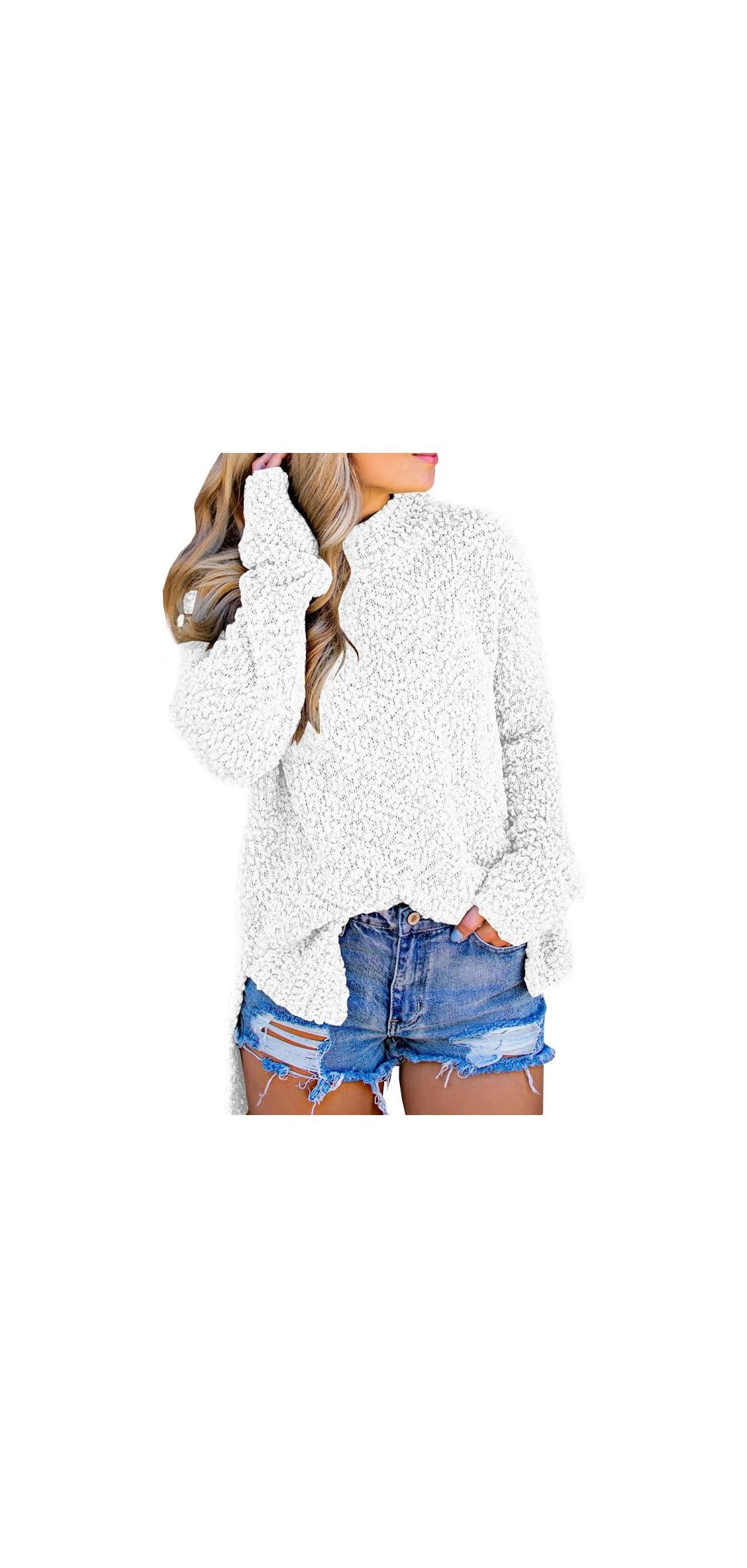 Womens Fuzzy Knitted Sweater Sherpa Fleece Side Slit