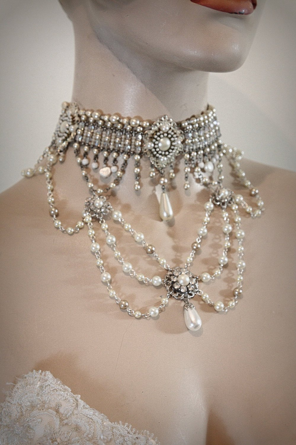 Silver Choker Pearls with Rhinestones Necklace Choker Pearl and Rhinestone Choker Pearl Choker Pearls Silver Necklace Vintage Necklace