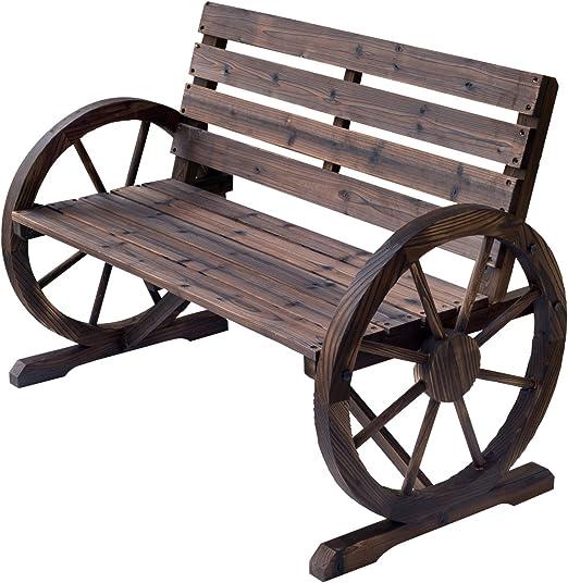 Outsunny Wooden Cart Wagon Wheel 2 Seater Garden Bench Outdoor Garden Armrest Chair Rustic High Back Loveseat