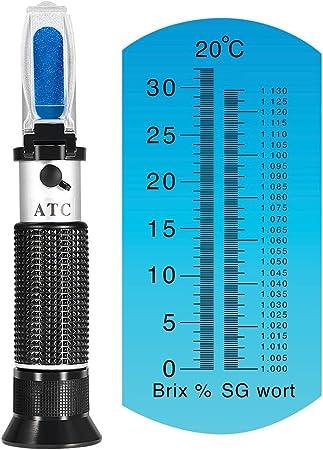 iTavah En/ólogo Refract/ómetro Alcohol 0-32/% Brix Dual Scale con ATC para viticultores Alcohol Jugo de uva Cerveza Refract/ómetro de Vino de Frutas Brix para Medir el Contenido de Az/úcar