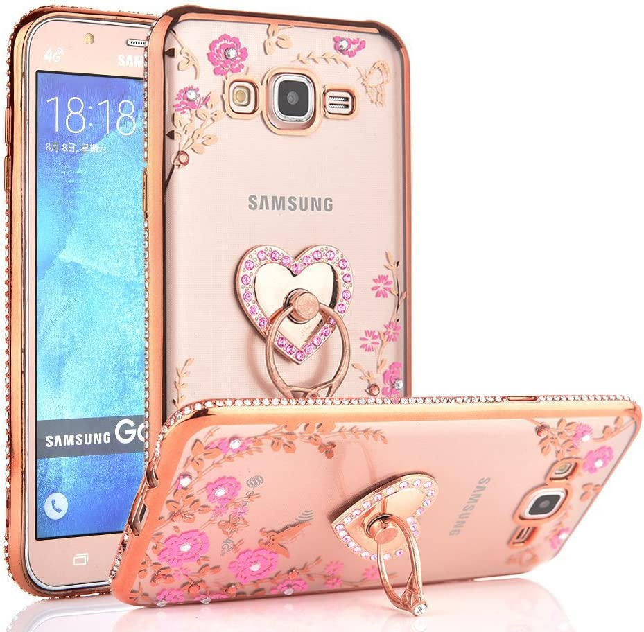 CaseHaven Galaxy J7 Case, Glitter Crystal Heart Floral Series - Slim Luxury Bling Rhinestone Clear TPU Case with Ring Stand for Samsung Galaxy J7 J700 (2015) - Rose Gold