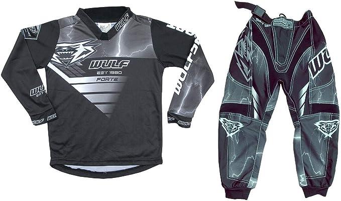 Kids Race Suit WULFSPORT FORTE 2020 Motorcycle Motorbike Quad Pit Bike ATV BMX Childrens Junior Motocross Black Jersey and Trouser 11-13 Years BLACK : SHIRT , Pant : 26 waist