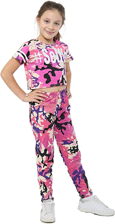 Kids Girls Legging Designers Camouflage Print Trendy Fashion Leggings 5-13 Year