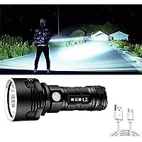 30000-100000 Lumen Grote zaklamp Krachtige LED XHP70 Waterdichte, oplaadbare zaklamp Zakformaat Ultrahelder, kamplamp…