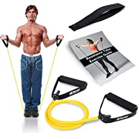 Resistance Band With Handles & Door Anchor | Resistance Tube For Strength Training & Physiotherapy | Free PDF Exercise…
