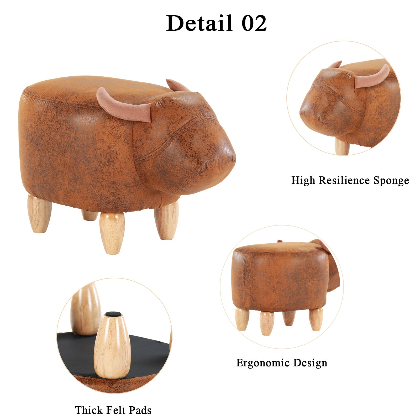 Artechworks Upholstered Ride-On Animal Ottoman Footrest Stool with Vivid Adorable Animal-Like Features,Perfect for Gift, Changing Shoes, Decoration, Toys, Without Storage(Brown Buffalo) by Artechworks (Image #4)