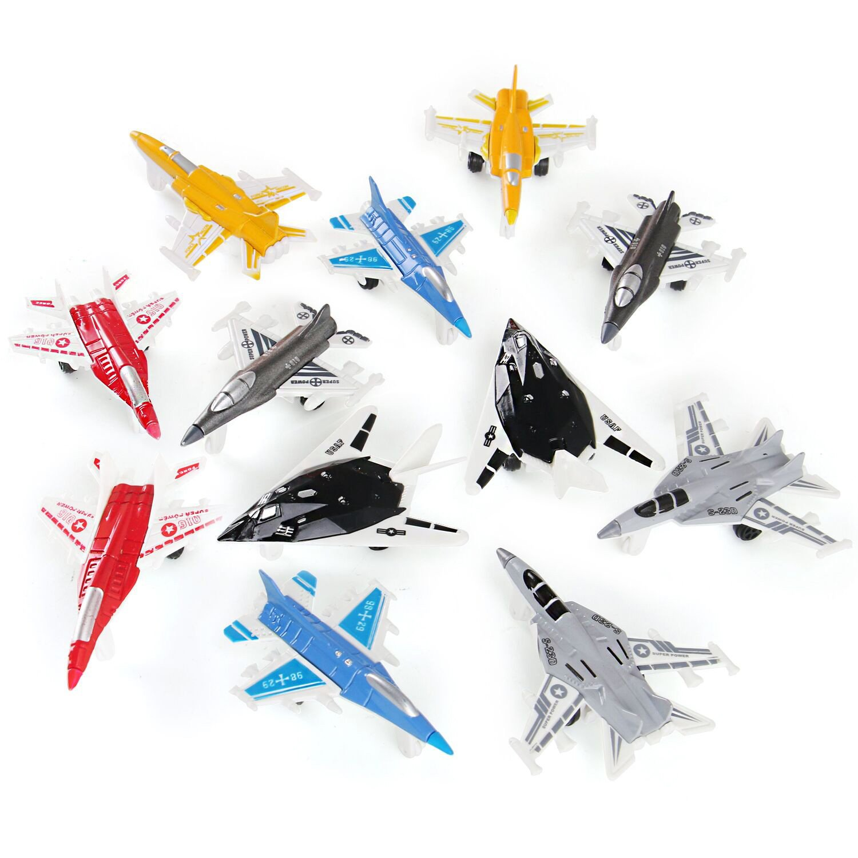 1 Dozen Liberty Imports 12 Piece Mini Diecast Metal Fighter Jets Air Force Set