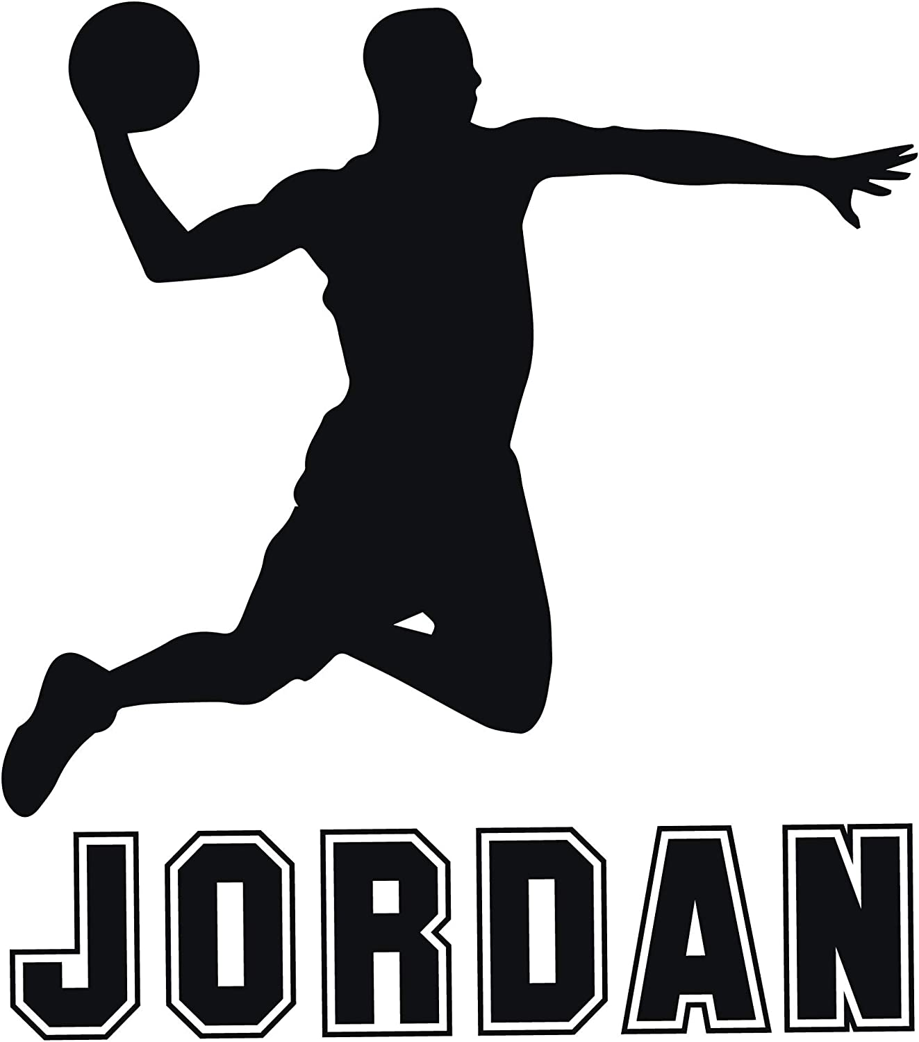Room Wall Decor - Basketball Player with Personalized Name Vinyl Decal Stickers for Boys Bedroom, Playroom, Locker Room, or Man Cave - Custom Sizes and Colors Match The Theme of Any Living Space
