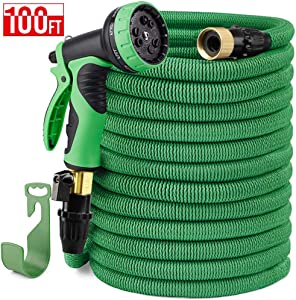 """Delxo 100FT Expandable Garden Hose Water Hose with 9-Function High-Pressure Spray Nozzle,Black Heavy Duty Flexible Hose, 3/4"""" Solid Brass Fittings Leakproof Design (Green)"""