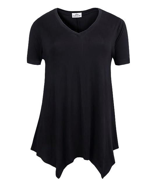 c72a4fd319424 ZERDOCEAN Women s Printed V Neck Short Sleeve Tunic Top Loose Shirt Black 1X