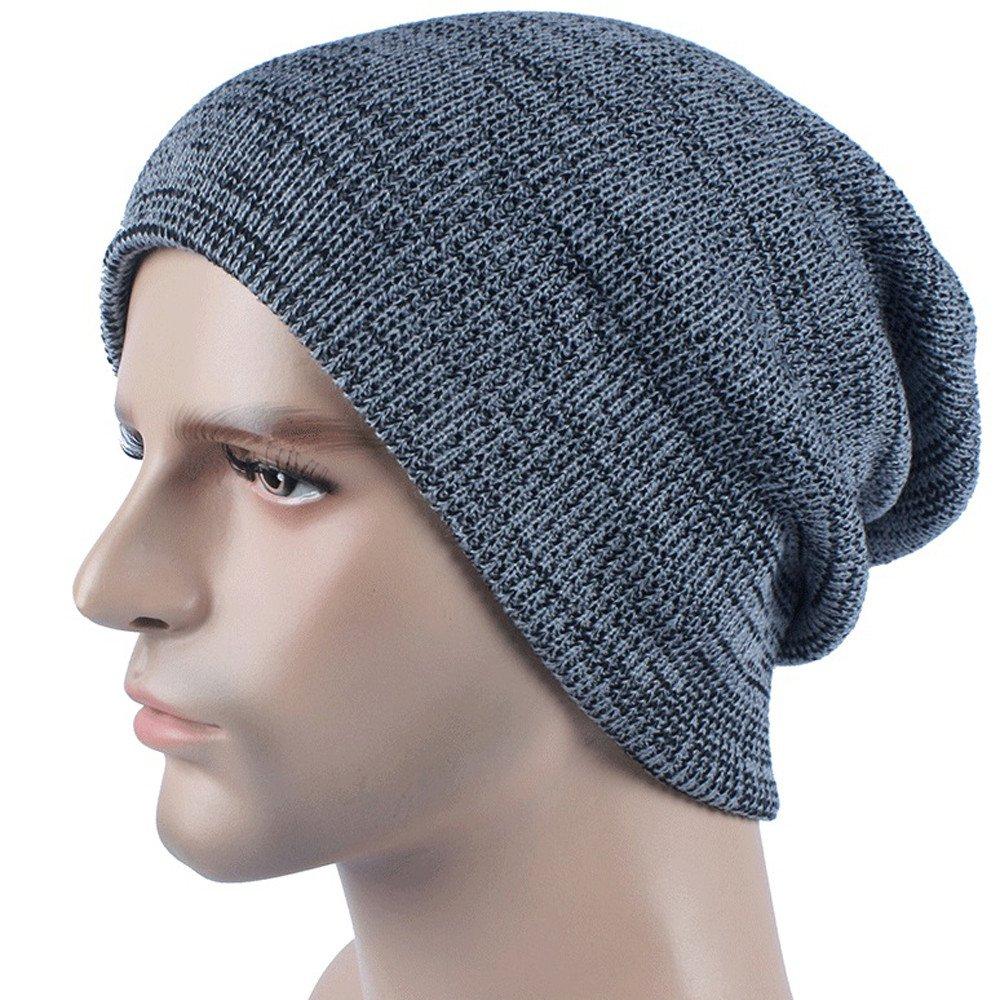 Styledresser Beanie Uomo Uomo Cachemire Inverno Uncinetto Cappello Sci Knit Caldo Berretto Cappello Uomo Nero Visiera 4.75