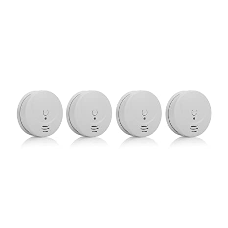 Smartwares 10.032.57 Detector de Humo, 9 V, Blanco, Set de 4 Piezas