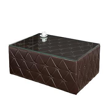 Vintage Chesterfield Couchtisch 100 Cm Dark Coffee Mit Glasplatte Beistelltisch Tisch Fusshocker Hocker Sitzhocker Wohnzimmertisch