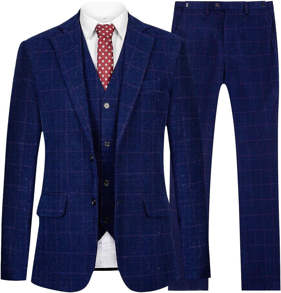 CMDC Mens 3 Pieces Suit Double Button Tweed Wool Slim Fit Party Blazer
