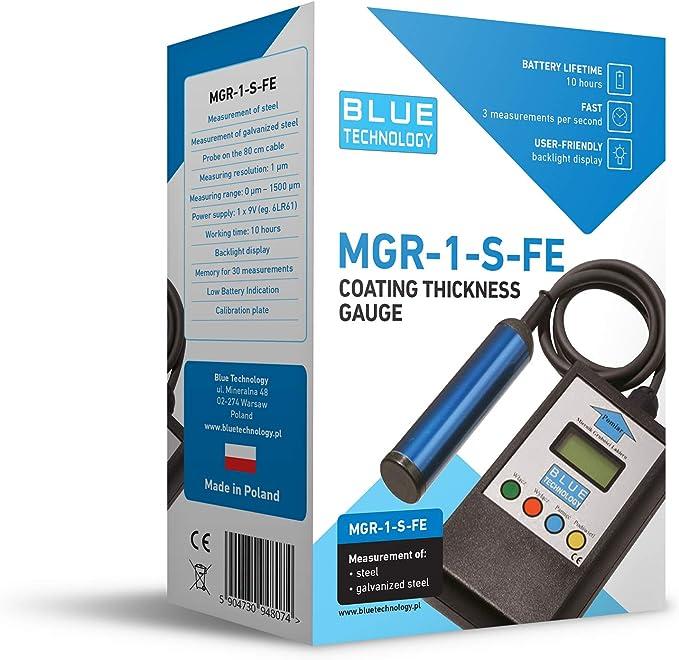 Blue Technology Mgr 1 S Fe Paint Beschichtung Dicke Meter Gauge Schichtdickenmessgerät Lacktester Lackschichtenmesser Lackdicke Für Stahl Schwarz 11cm X 6 5cm X 2 8cm Auto