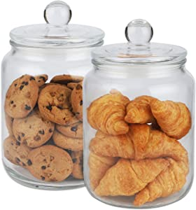 Set of 2 Glass Storage Jar with Lid (1/2 Gallon) Airtight Glass Storage Container for Food, Flour, Pasta, Coffee, Candy, Dog Treats, Snacks and More Glass Organization Canisters for Home & Kitchen 68 Ounces