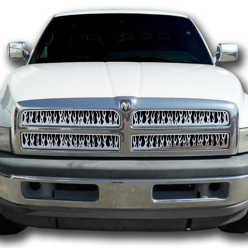 1994-2001 Dodge Ram 1500 TRK-114-06-Chrome-a Ferreus Industries Grille Insert Guard Vertical Flame Polished Stainless fits