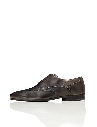 Find Leather Lace Up Brogue, Zapatos de Vestir Hombre, Gris (Grey), 47 EU