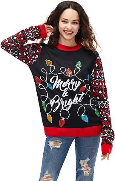Womens Christmas Sweater Ugly Pullover Glitter Lights Funny Santa Reindeer Fair Isle