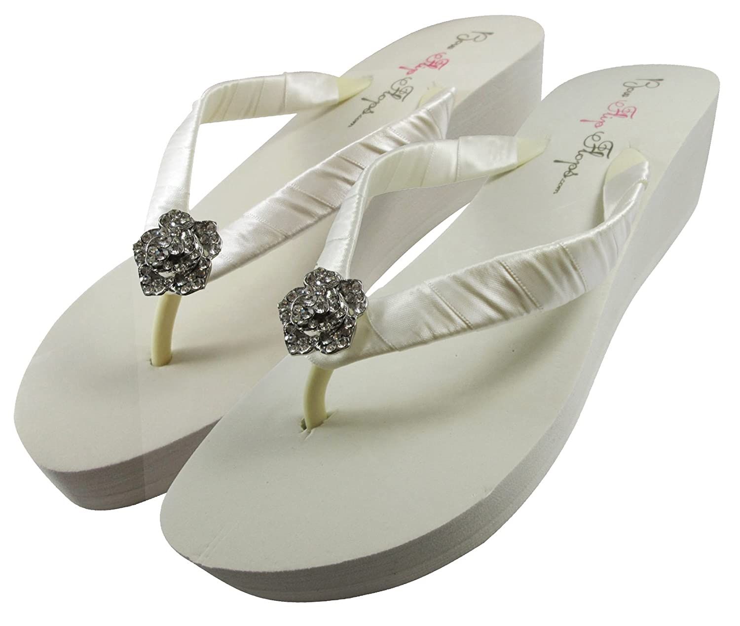 feea81ad4 Amazon.com  Bridal Flip Flops Wedding Ivory Wedge White Platform Bride Rose  Heel Satin Rhinestone Flip Flops  Handmade