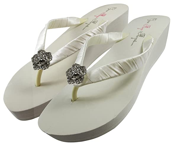35de00c376130 Amazon.com  Bridal Flip Flops Wedding Ivory Wedge White Platform Bride Rose Heel  Satin Rhinestone Flip Flops  Handmade