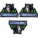 3 Pieces NBA Team Logo Patches Timberwolves Sew On/Iron On Basketball Logo Emblem Sports Applique Accessories Decoration Patches