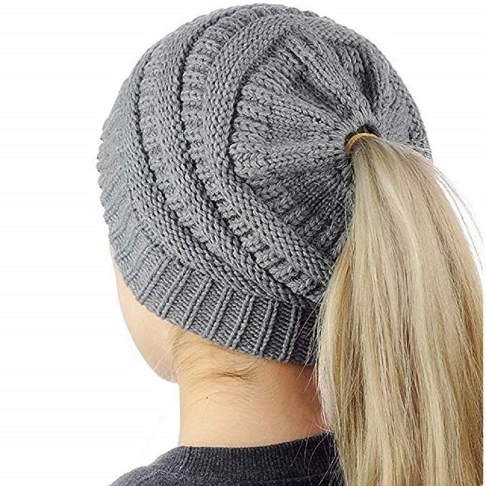 Huiyuzhi Women's Trendy Warm Chunky Cable Knit BeanieTail High Bun Ponytail Beanie Hat Cap (One Size, Grey)