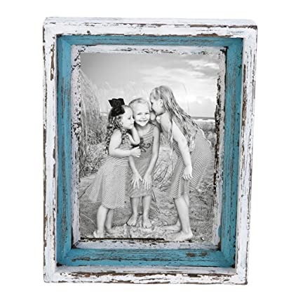 Amazon.com - Wood Blue White Photo Frame Distressed Nautical Beach ...