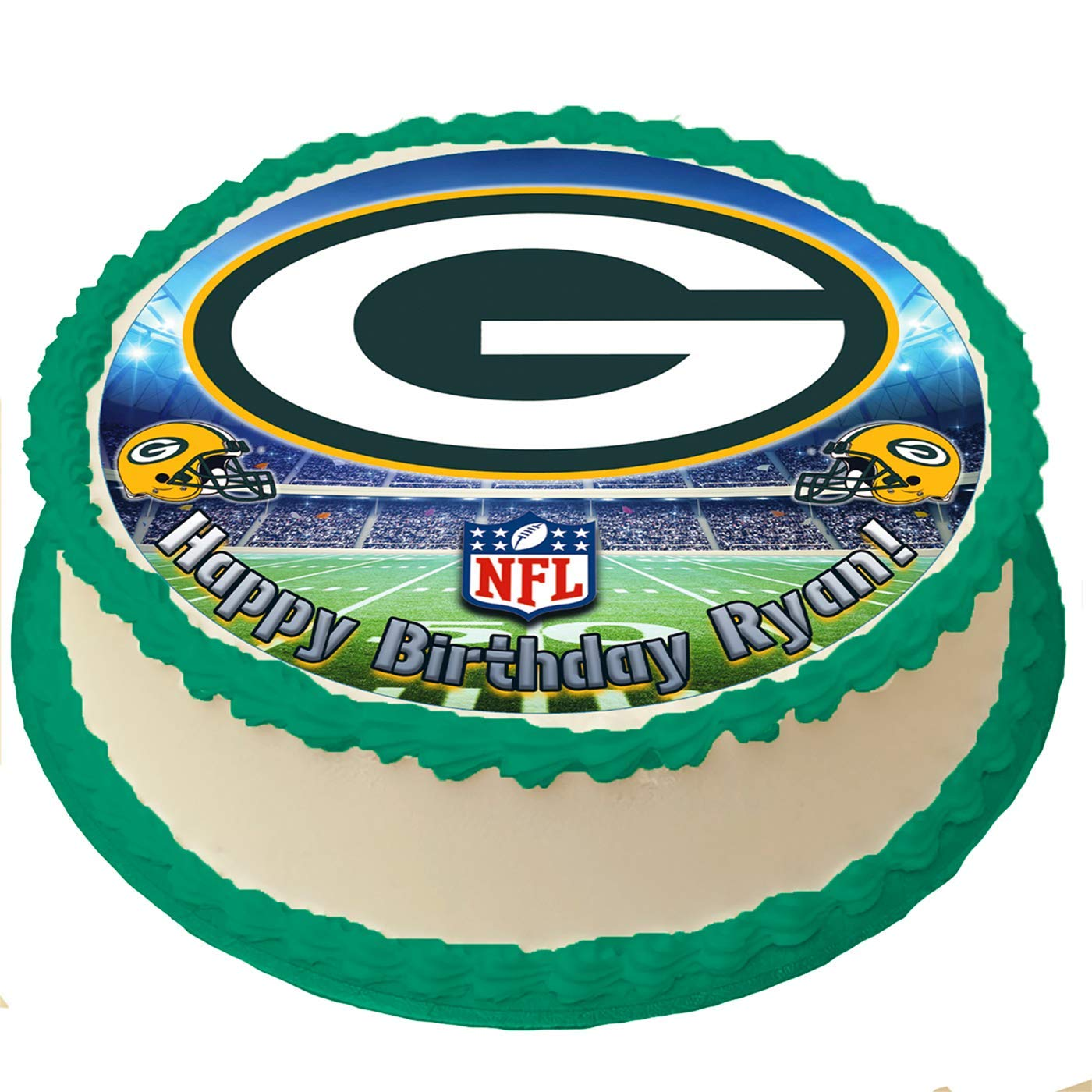 Fabulous Green Bay Packers Nfl Personalized Cake Topper Icing Sugar Paper 8 Personalised Birthday Cards Rectzonderlifede