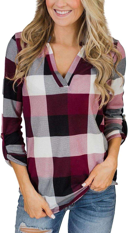 YANG  최고 여성 캐주얼 블라우스 면 편한 체크 무늬 셔츠 SWAETSHIRT 슬림 재킷 셔츠 긴 소매 스웨터 가을 스웨터