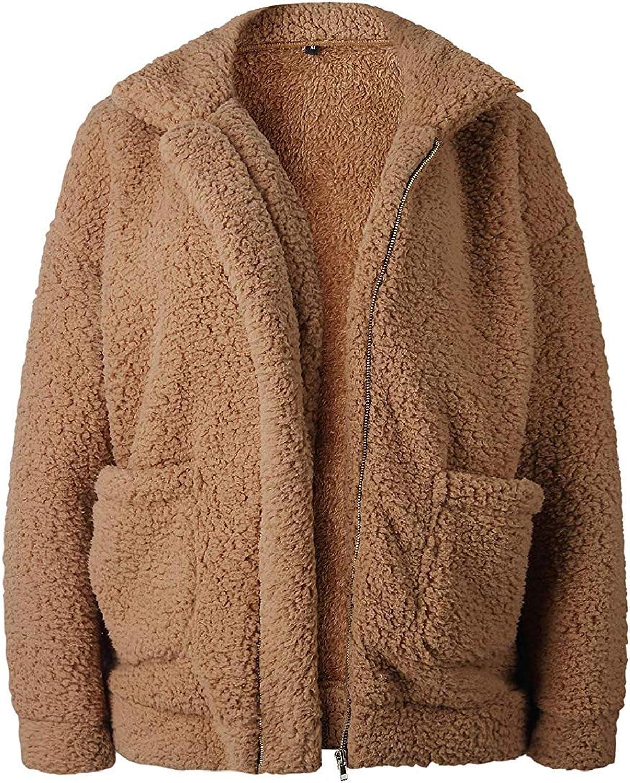 Womens Winter Warm Faux Fur Coat Long Sleelve Cardigan Boyfriend Shearling Fuzzy Jacket with Pockets