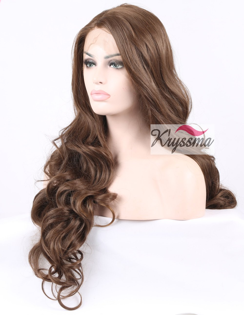 K'ryssma Natural Looking Brown Lace Front Wig Glueless Synthetic Long Wavy Hair Wigs for Fashion Women Heat Friendly Side Parting 24 Inch Wonder Hair