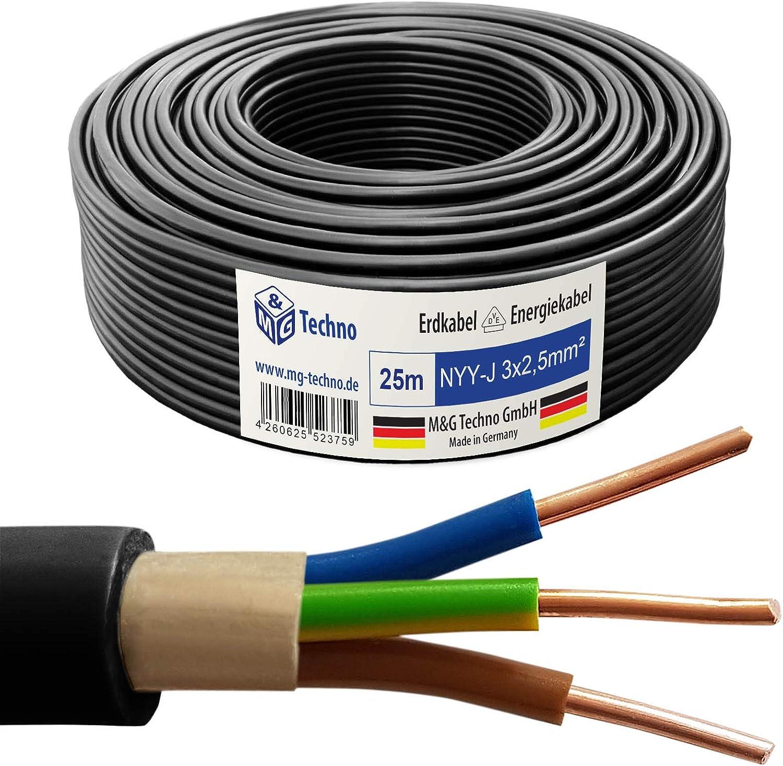 M/&G Techno 10m NYY-J 3x1,5 mm/² Erdkabel Elektro Strom Kabel Kupfer eindr/ähtig Made in Germany