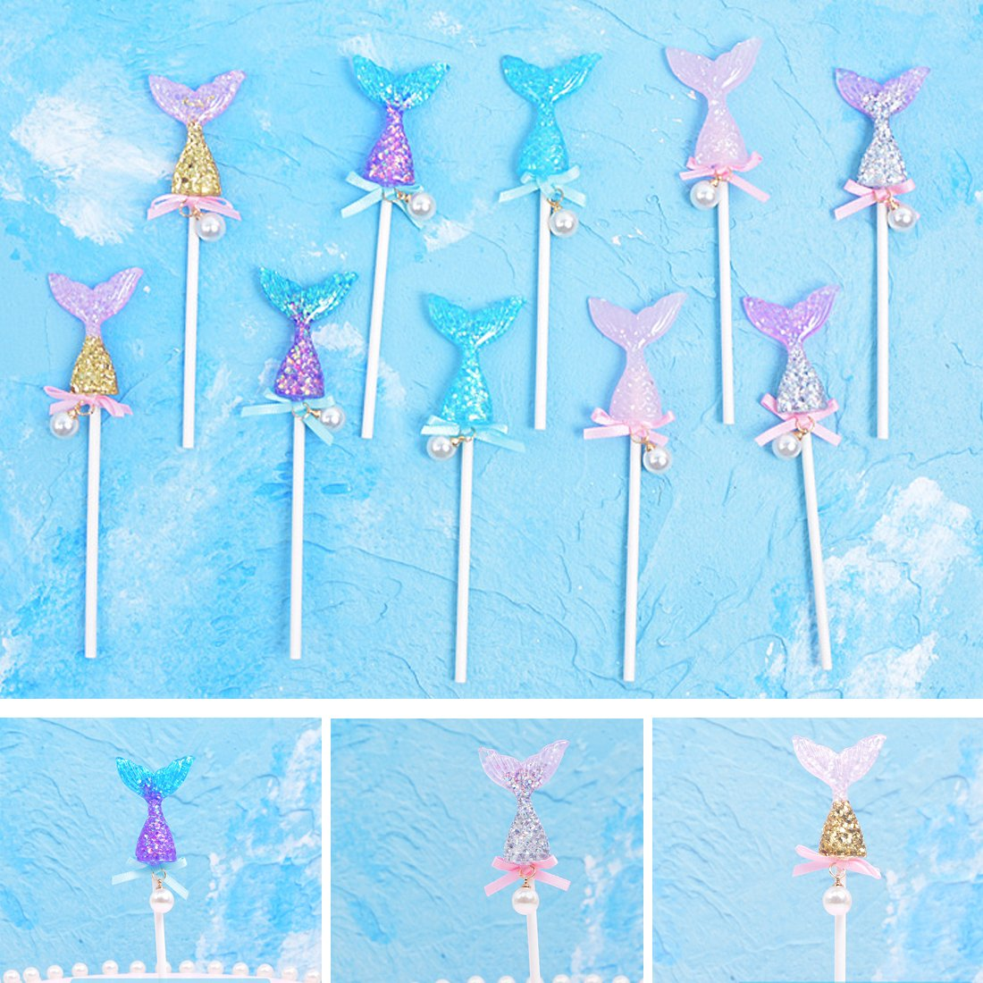 CShopping 10Pack Glitter Colorful Mermaid Tail Cake Topper, Reusable Sequin Mermaid Cake Decoration for Birthday Party, Sea Theme Party, Baby Shower and Wedding by CShopping (Image #4)
