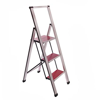 Excellent Aluminum Folding 3 Step Ladder Anti Slip Sturdy Lightweight And Slim Design Heavy Duty Silver Faux Wood Step Camellatalisay Diy Chair Ideas Camellatalisaycom