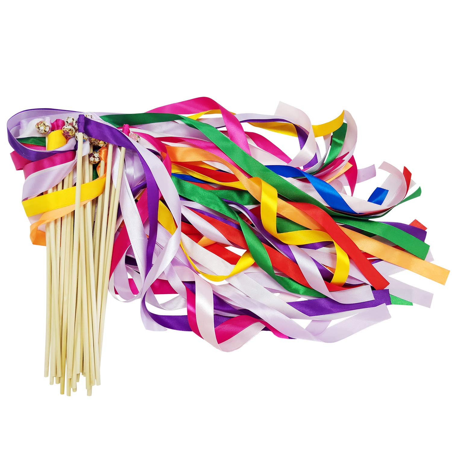 CODOHI Silk Ribbons Wish Wand Fairy Sticks,Wedding Party Favor(50 Pack) -Mix Color
